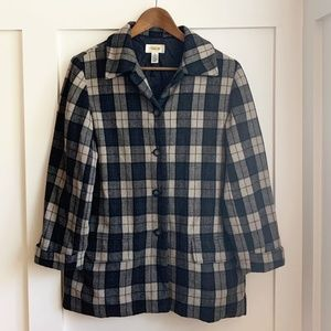 Talbots Plaid Button Up Jacket, Size Small